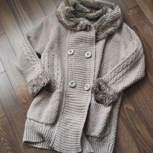 Naf Naf Grandpa style drop-sleeve long cardigan